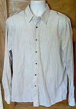 EUC Sovereign Code 100% Cotton Button Front Long Sleeve Striped Shirt XL FS!