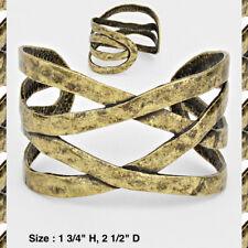 Statement Cuff Bracelet Metal Burnished Gold Criss Cross Fashion New Vintage
