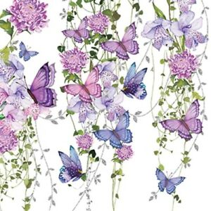 4 x Single Paper Table Napkin/33cm/3-Ply/Decoupage/Purple/Pink/Butterfly Splash