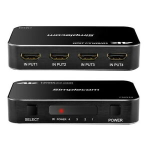 4 Way HDMI 2.0 Switch 4 Port IN 1 OUT Ultra HD 4K 60Hz HDR HDCP 2.2 for PS4 Pro