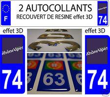 2 STICKERS RECOUVERT DE RESINE IMMATRICULATION DEPARTEMENT HAUTE SAVOIE 74
