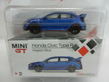 2018 TSM MODELS MINI GT = AEGEAN BLUE Honda Civic Type R *DIECAST* NIP!