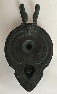 Grand Tour 19C Roman Colza Oil Lamp B.&A.B. EGYPTIAN REVIVAL Mask Snakes Flame