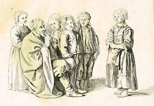"""Antique Etching - """"OLD FLUTE PLAYER WITH CHILDREN"""" - c1820"""
