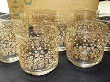 "Boxed (8) Gold ""Glitter Chips"" Old Fashioned Glasses LIBBEY Mid Century Modern"