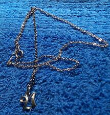 (JX-13) 1970 Retro Jewelry 21st Pendent on silver necklace (M)