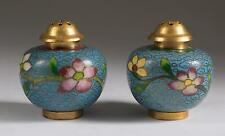 China Chinese Pair of Cloisonne Salt & Pepper Shakers Floral Decoration 20th c.