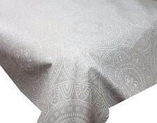 ACRYLIC COATED TABLE CLOTH SPIRO ETHNIC CIRCLES GREY WHITE DOTS LINEN WIPE ABLE