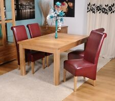 Extending Solid Oak Dining Table And Four Red Bonded Leather Chairs 120/165CM