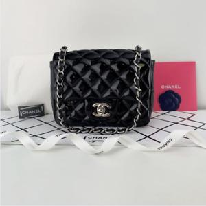 CHANEL Patent Leather Classic Flap Old Mini in Black Crossbody Shoulder Handbag