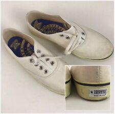 1970s Converse Shoes / 70s White Canvas Lace Up Shoes Unworn / Women's 5