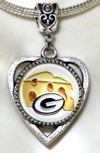 Green Bay Packers Inspired Handmade Cheese Head Glass Pendant Charm 18mm