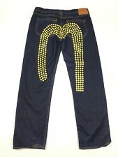 Evisu Heritage Yellow Dots Daicock Selvedge Jeans Dark Blue Mens 40 (40 x 35)