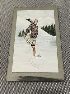 Antique 1920's Art Deco Signed Bain Ink & Watercolor Painting Woman Ice Skating