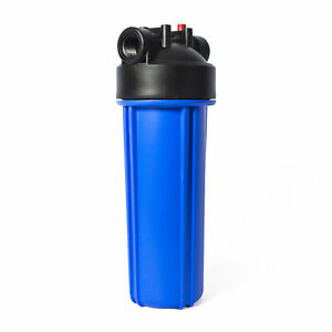 """Standard 2.5x10"""" Blue Filter Housing 1/2"""" NPT with Pressure Release"""
