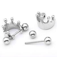1pc 16G Steel Crown Shield Ear Helix Cartilage Cuff Ring Earring Body Piercing