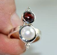 Fresh Water Pearl, Garnet Ring 925 Sterling Silver Handmade Jewelry Size 3-13 US