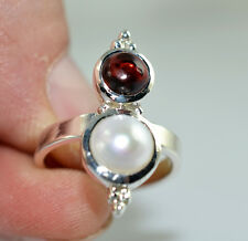 Freshwater Pearl, Garnet Ring 925 Sterling Silver Handmade Jewelry Size 3-13 US