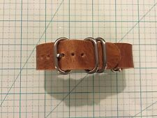 20mm Horween Natural Dublin Leather mil OR zulu style handmade Watch Strap Band
