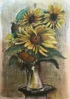 Print Original oil painting art Vase of sun flowers floral fine art