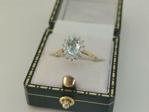 18ct Yellow Gold Aquamarine and Diamond Cluster Ring - BEAUTIFUL!