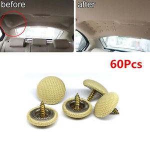 60Pcs Beige Car Roof Headliner Ceiling Sagging Liner Repair Kit Snap Button Pin