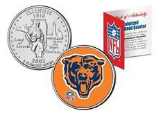 CHICAGO BEARS * Licensed * NFL Illinois U.S. State Quarter Coin  * RETRO * w/COA