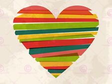 PAINTING ABSTRACT LOVE HEART SHAPE STRIPES ART PRINT POSTER MP5085A
