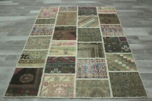 Anatolian Handmade Ethnic Wool Carpet Turkish Vintage Patchwork Area Rug 5x7 ft.