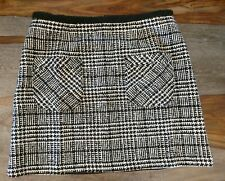 Nanette Lepore  Black White Lined Cupra & Cotton Skirt Size 2