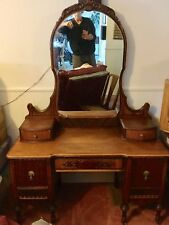 Beautiful Vintage Waterfall Vanity with Matching Mirror Art Deco