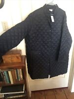 J. Jill Quilted Down Puffer Snap Coat Jacket Navy Blue 4XL NWT