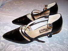 Vtg Ladies Shoes 1 1/2 inch Heels Black Patent Leather Sz 8M Worthington Euc