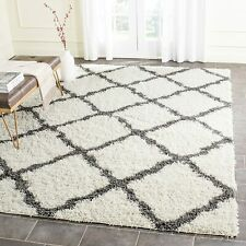 Safavieh Modern Geometric Dallas Shag Trellis Area Rug 8' x 10' Ivory Gray