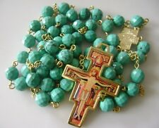Gold Precious Turquoise BEADS ROSARY & San Damiano Cross Crucifix NECKLACE