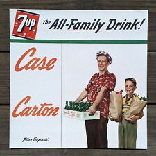 Original 7-UP FRESH UP SODA Family Dad Son Cardboard Sign 1948 Unused LAST ONE