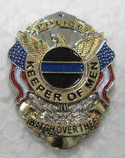Keeper of Men Police Law Enforcement Thin Blue Line Memorial Badge Lapel Pin