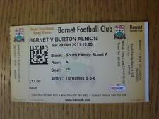 29/10/2011 Ticket: Barnet v Burton Albion
