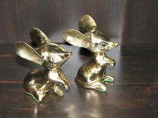 Brass Mice Mouse Rats Lot Pair Set Animals decorative Figures rodents large ears