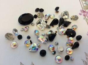 60 Vintage Rhinestone jewellery repair/craft mixed shape In Black/ crystal tones