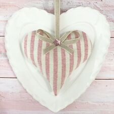 1 SUSIE WATSON ROSE IVORY STRIPE Lavender Filled Fabric Heart PINK PINSTRIPE