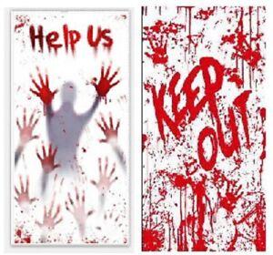 2pk Bloody Window Door Poster Halloween Scene Setters Wall Decoration Help Us