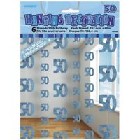 Blue Glitz 50th Birthday Hanging Decorations Pack 6 5ft Strands Unique Party