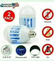 2 Pack LED Bug Zapper Light Bulbs 2 in 1 Mosquito Killer Lamp LED Two Bulbs NEW