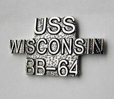 Uss Wisconsin Battleship Bb-64 Us Navy Script Lapel Pin Badge 1 Inch