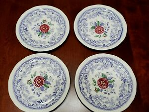 VINTAGE COPELAND SPODE MAYFLOWER BREAD/DESSERT PLATES SET OF 4 MADE IN ENGLAND