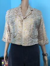 Vintage Lightweight Gold Brocade Bolero Jacket By Speciality House W/3/4 Sleeves