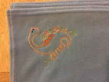 Fisher Price Dinosaur Boys Blue Blanket Fleece Embroidered Orange Brontosaurus