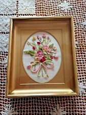 Vintage Shadow Box with Embroidery Bouquet Brass Picture Frame 4.75 X 5.75