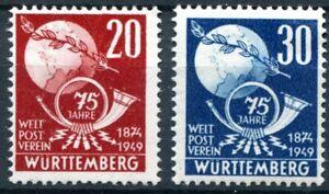 Wurttemberg #Mi51-Mi52 Mint CV€16.00 French Zone UPU Post Horn [8N40-8N41]